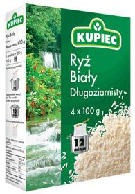 Ryż biały długoziarnisty 4x100g - Kupiec