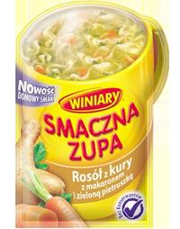 Smaczna zupa Rosół z kury z makaronem i zieloną pietruszką 14g W